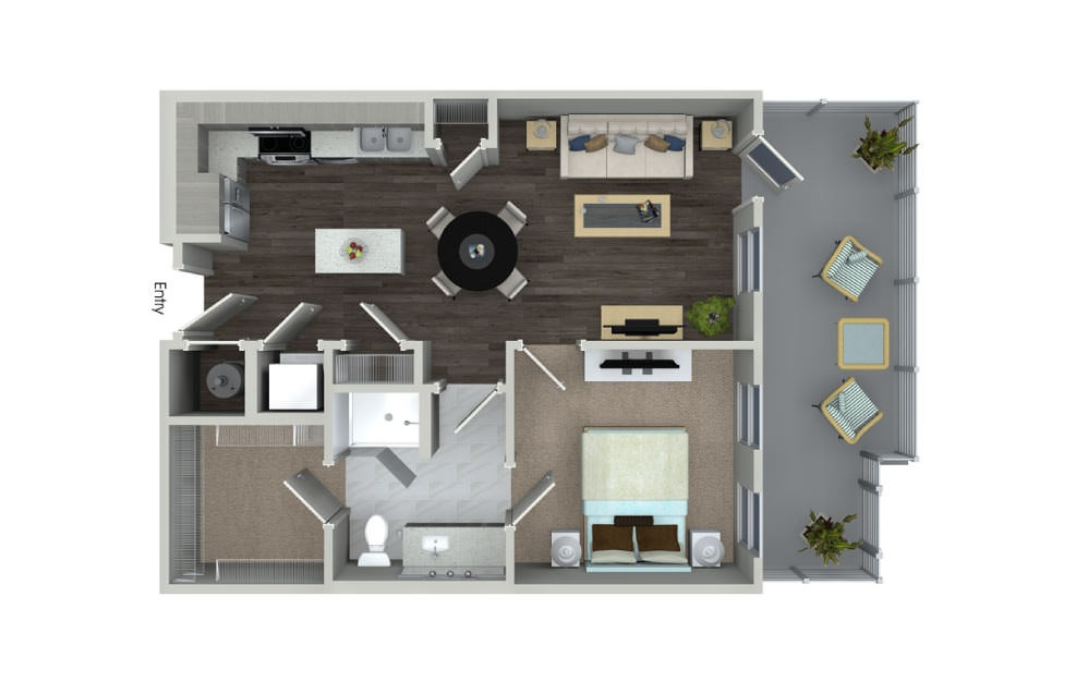 A1.2 - 1 bedroom floorplan layout with 1 bath and 650 square feet.