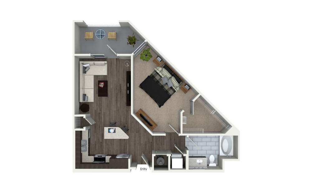 One Bedroom Floor Plan At 555 Ross