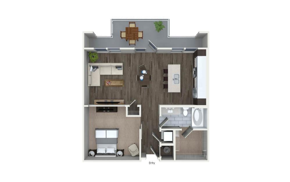One Bedroom Floor Plan At 555 Ross