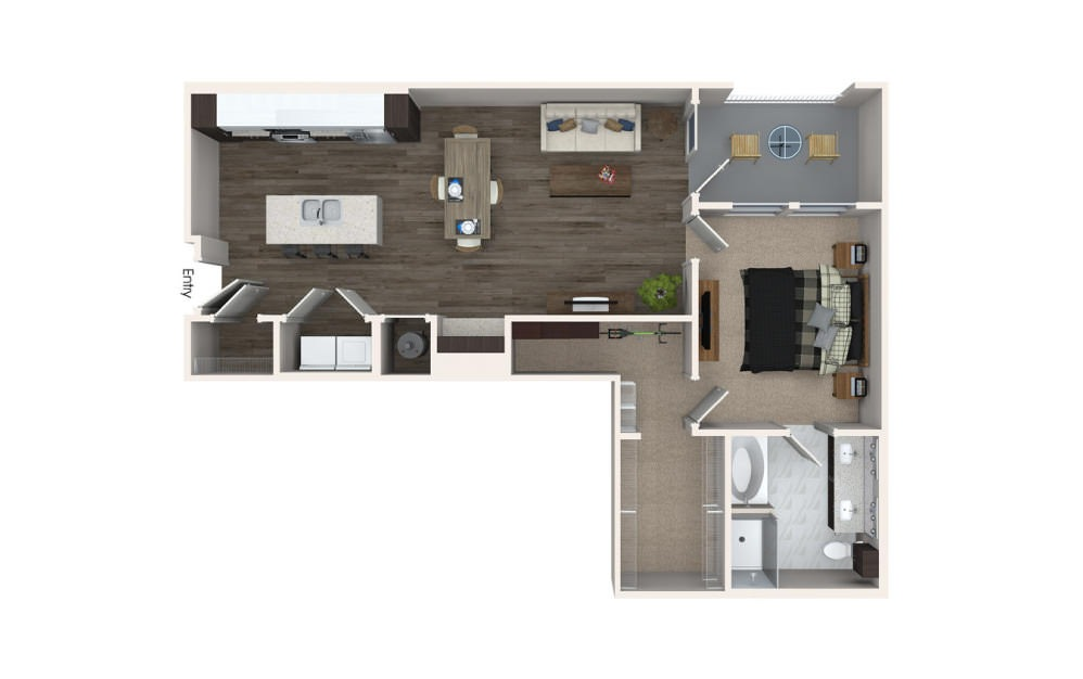 A4 - 1 bedroom floorplan layout with 1 bath and 946 square feet.