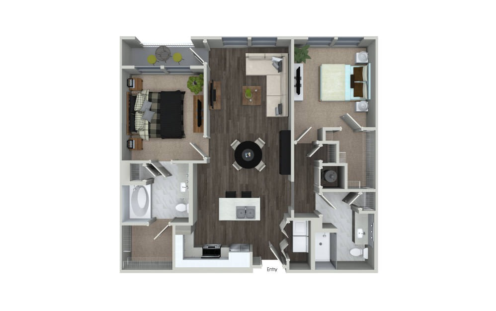 B1.1 - 2 bedroom floorplan layout with 2 baths and 1069 square feet.