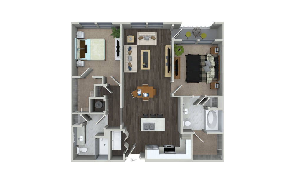 B1.2 - 2 bedroom floorplan layout with 2 baths and 1069 square feet.