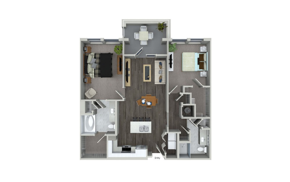B1.4 - 2 bedroom floorplan layout with 2 baths and 1070 square feet.