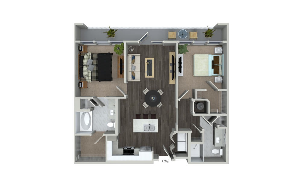 B1 - 2 bedroom floorplan layout with 2 baths and 977 square feet.