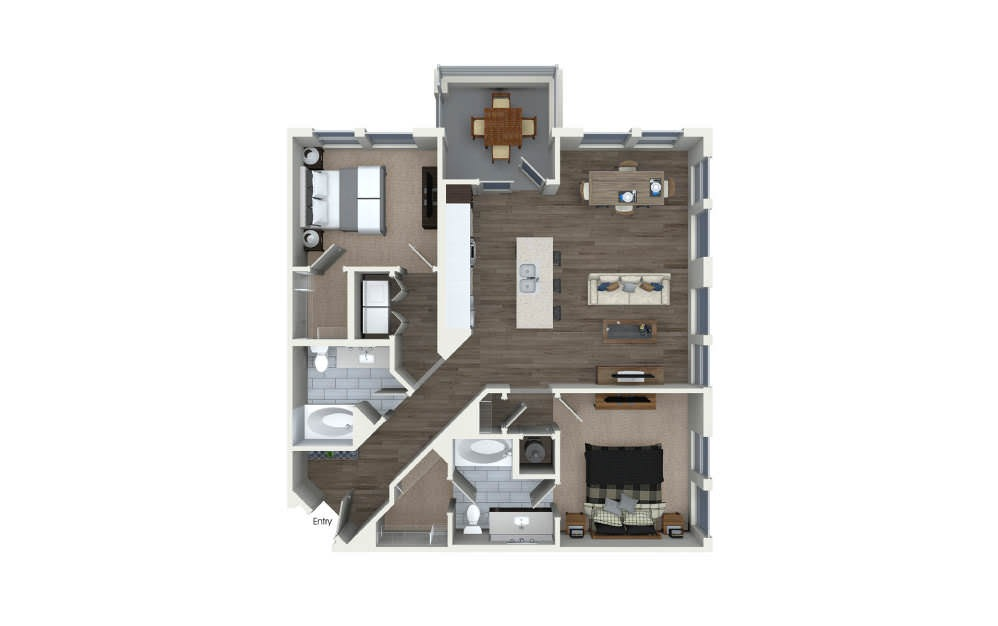 B2.1 - 2 bedroom floorplan layout with 2 baths and 1156 square feet.