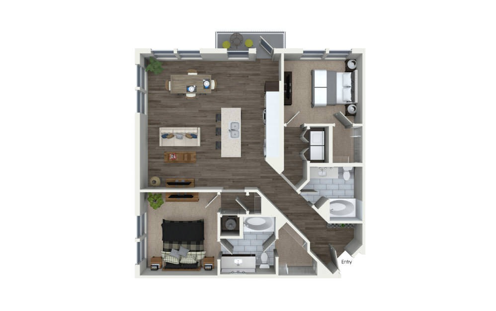 B2.2 - 2 bedroom floorplan layout with 2 baths and 1193 square feet.