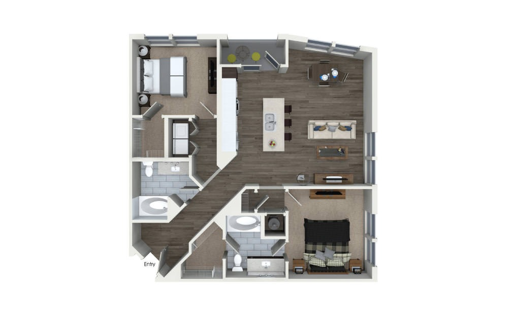 B2 - 2 bedroom floorplan layout with 2 baths and 1133 square feet.