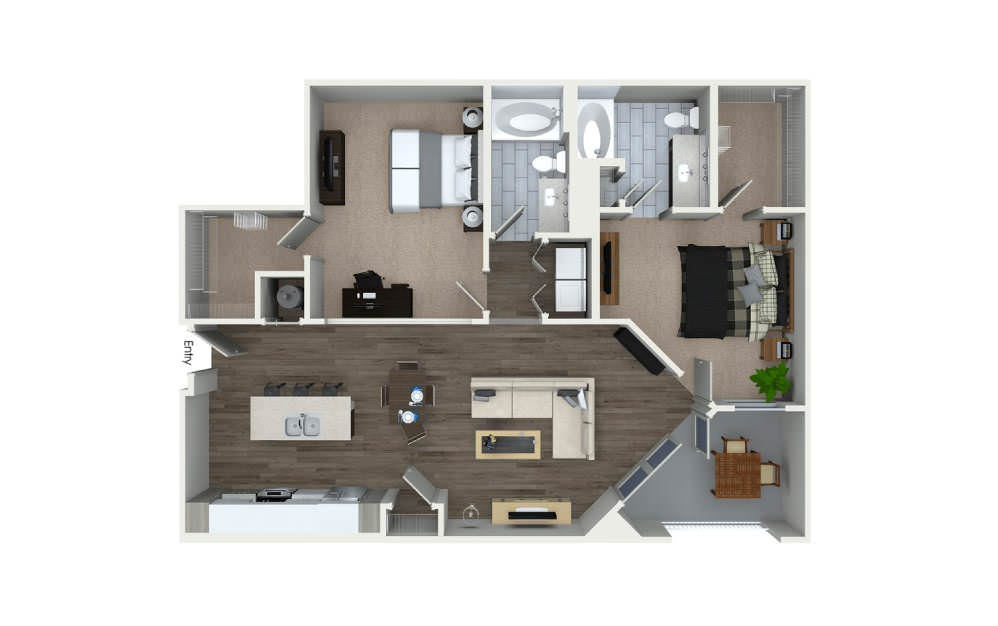 B3 - 2 bedroom floorplan layout with 2 baths and 1233 square feet.